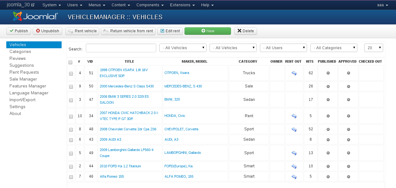 Search Vehicle Manager in Joomla Components, step 4