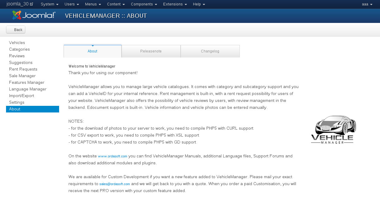 Main information about Vehicle Manager - Joomla automotive extension