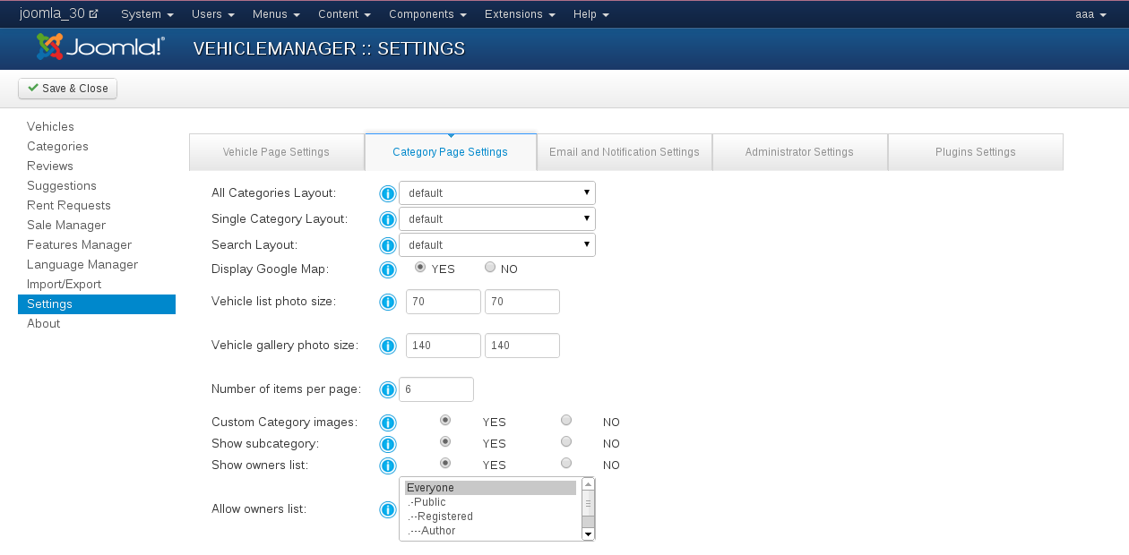 Category Page Settings in Vehicle Manager - Car management extension