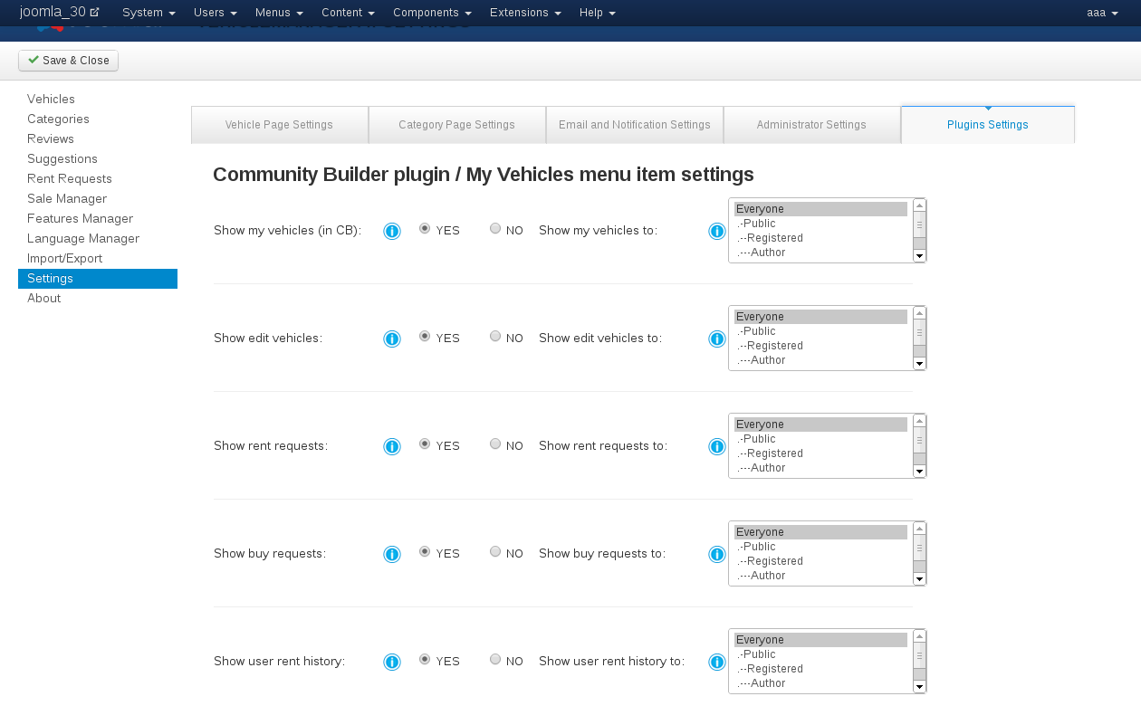 Plugins Settings of Vehicle Manager - Joomla automotive extension