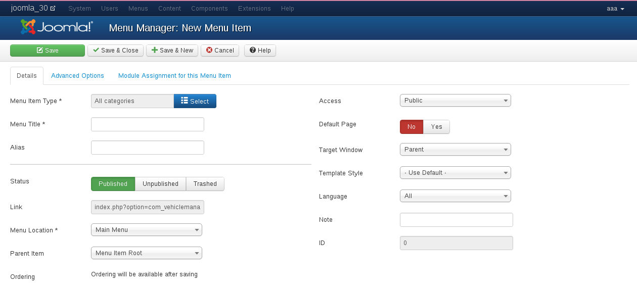 create a menu item for Menu entry Joomla Car dealer software