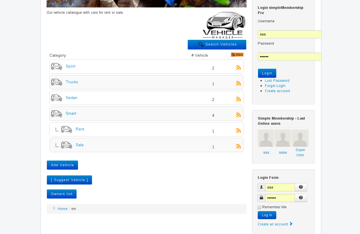 frontend Category View of Vehicle manager