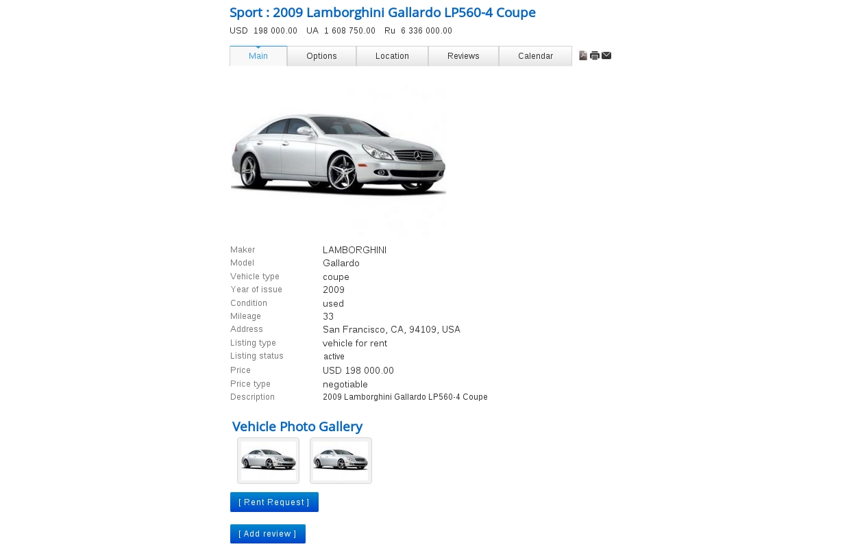 Front End Vehicle Details Page in Vehicle Manager - Joomla car rental software