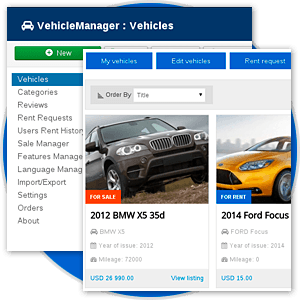 Powerful Car Management features in Car rental dealer software - Vehicle manager
