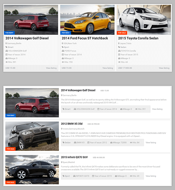 Module Featured for Vehicle Manager - Joomla Car management extension