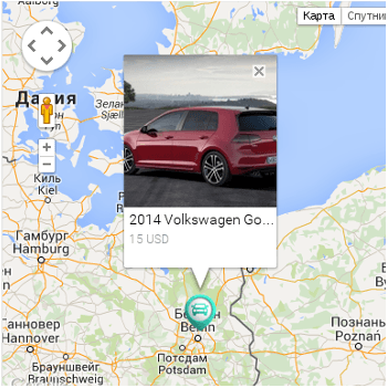 Module Google Location Map for Vehicle Manager - joomla automotive extension for create car rental website