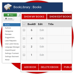 Powerful Management Options from Frontend and Backend in Book Library - Joomla eBook software for create book library website
