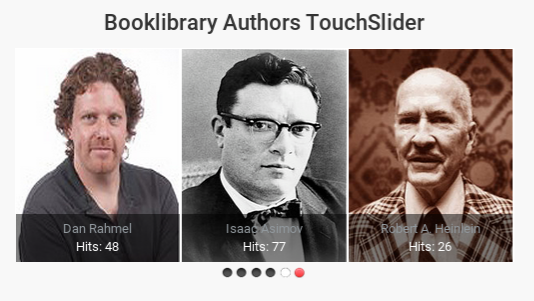 Touch Slider Authors for Book Library - eBook software for create book library website