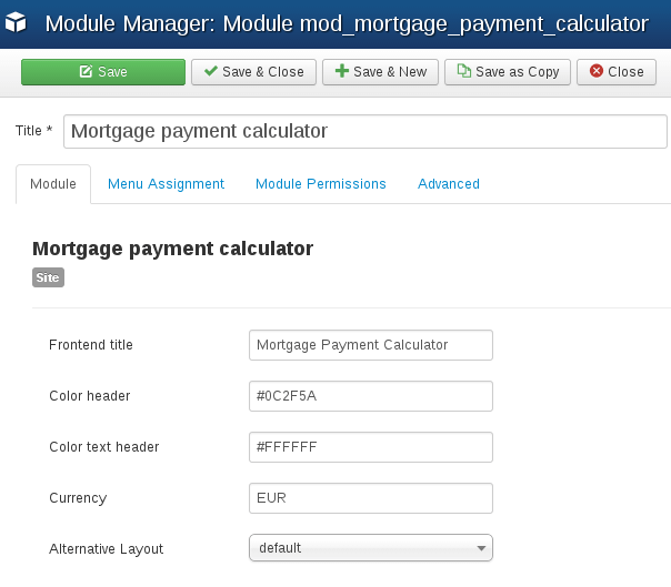 Settings of Mortgage Payment Calculator