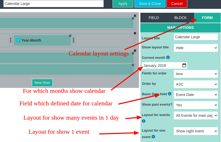 calendar layout settings