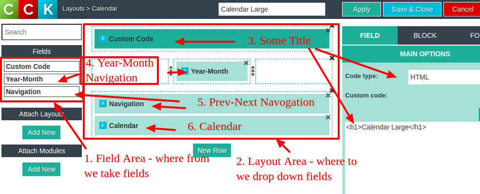 Create Calendar layout details