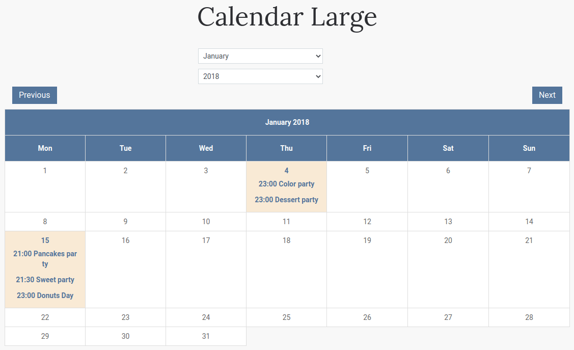 how add large calendar to your website