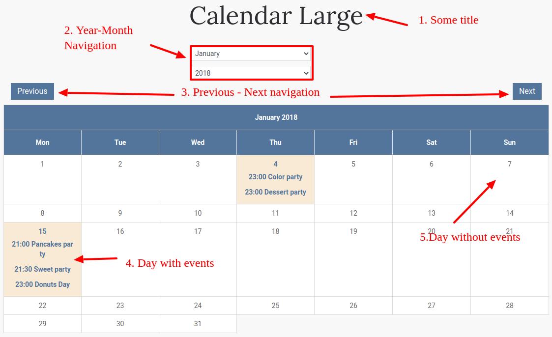 large calendar details