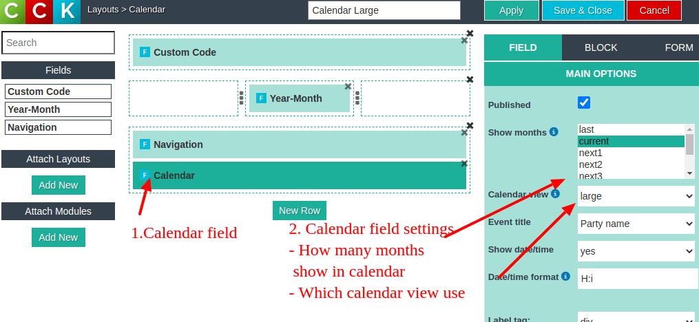 website calendar field settings