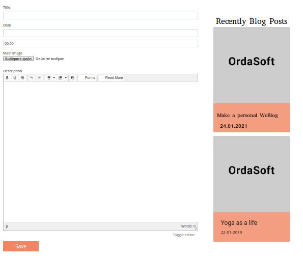 blog page builder, fields type frontend view