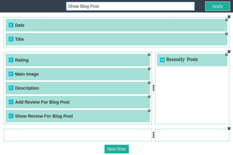 blogs page builder, show blog post backend view