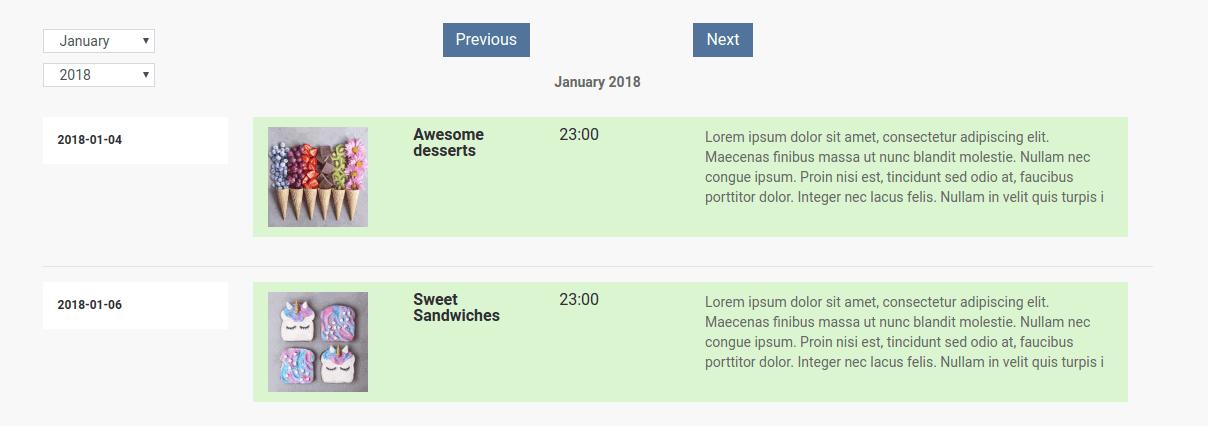 Joomla CCK - Event website builder, Schedule layouts of all events