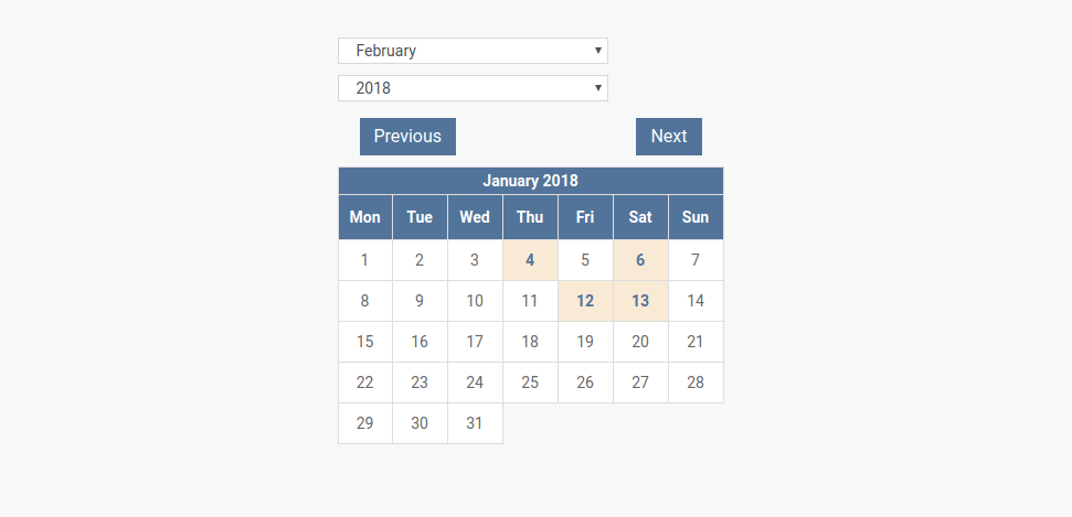 Small Event Calendar Layout in CCK event website builder