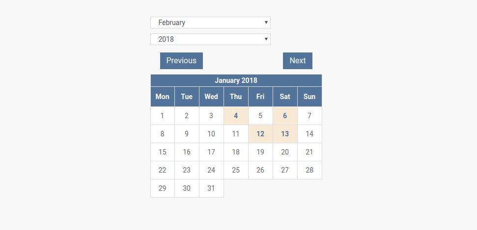 Small Event Calendar Layout in CCK event website builder