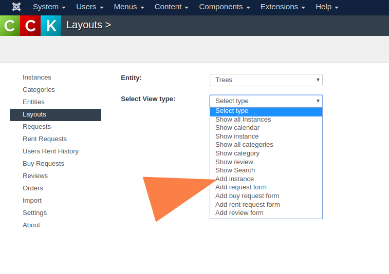 Types of layouts in OS CCK Joomla
