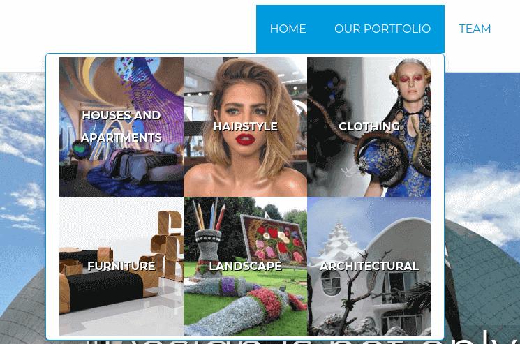 mega menu features website builder