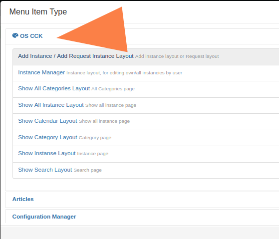 Create menu item in OS CCK Joomla