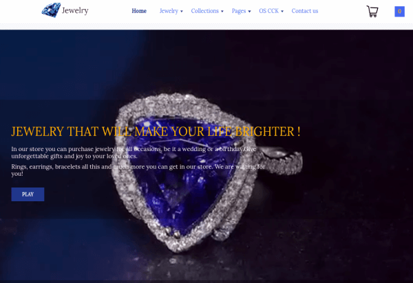 Joomla Jewelry store template with Joomla video slider