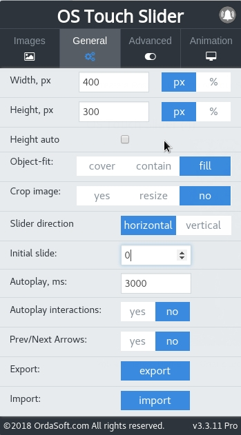 advanced posibilities of general settings in joomla slider