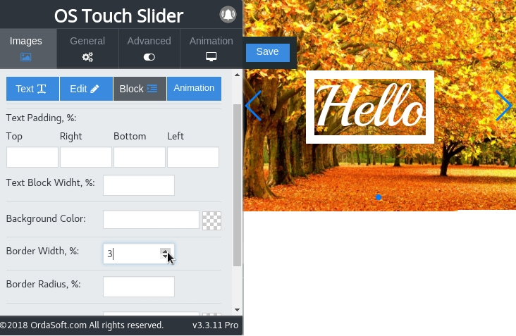 Put the text in the frame and resize the frame in image slider joomla
