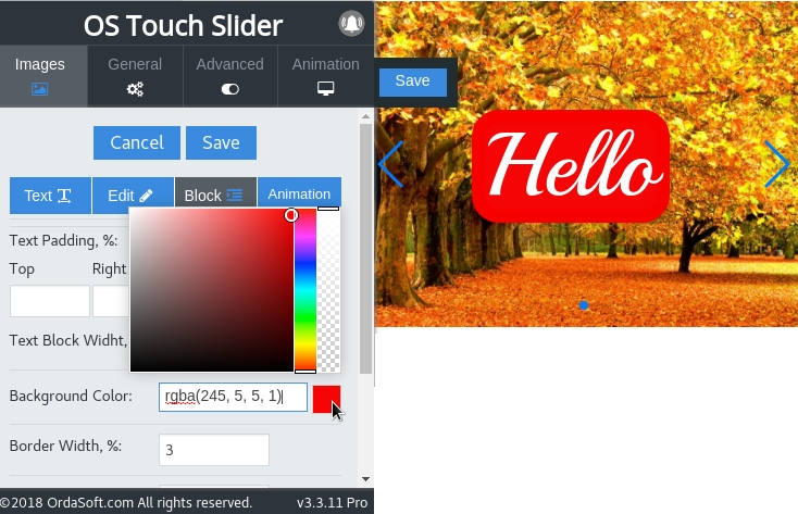 Possibility change the color inside the frame in Joomla Slideshow module