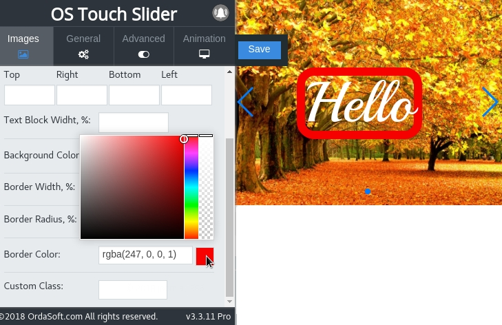 Possibility change the text border color in joomla Slider
