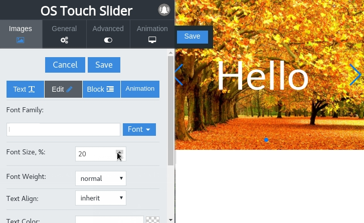 real time frontend editor of text in image joomla slider