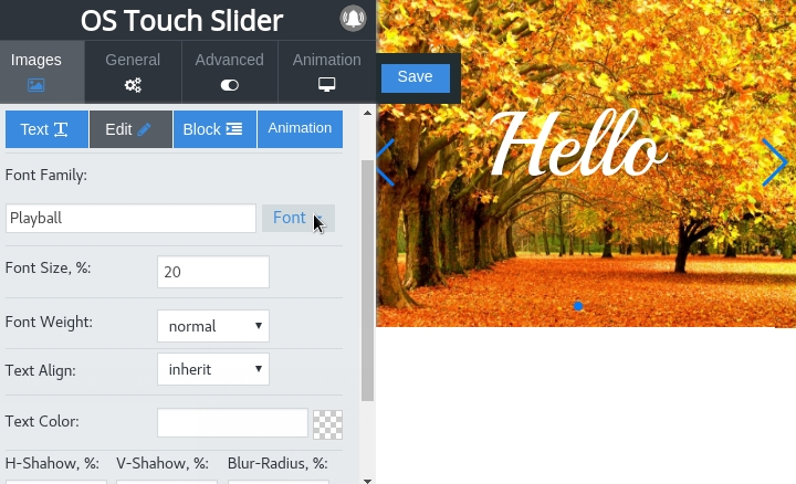 real-time frontend editor of text style with google fonts in image slider joomla