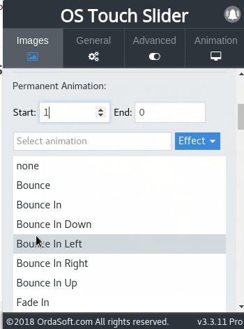 Select a special effect from the drop-down list in Joomla slider