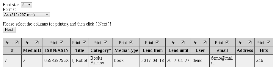 MediaLibrary print report