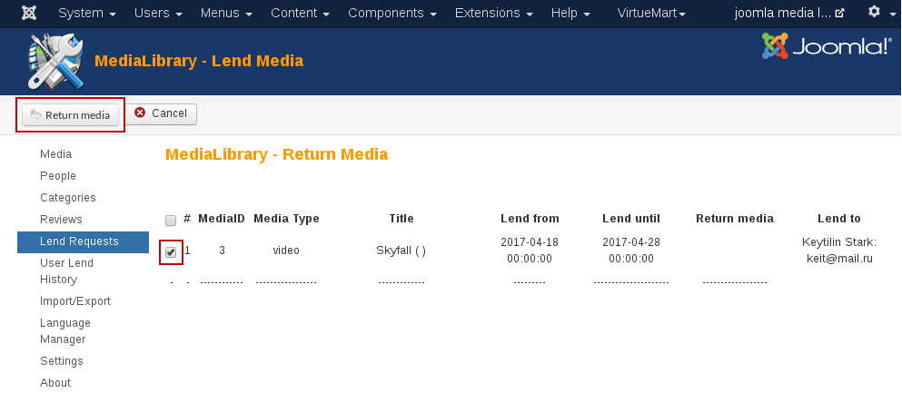 MediaLibrary - return media