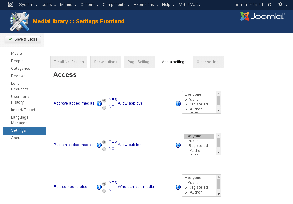 MediaLibrary - Access Setting tab