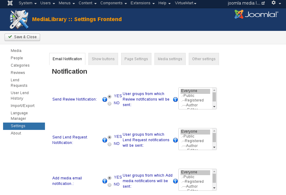 MediaLibrary - Settings Notification