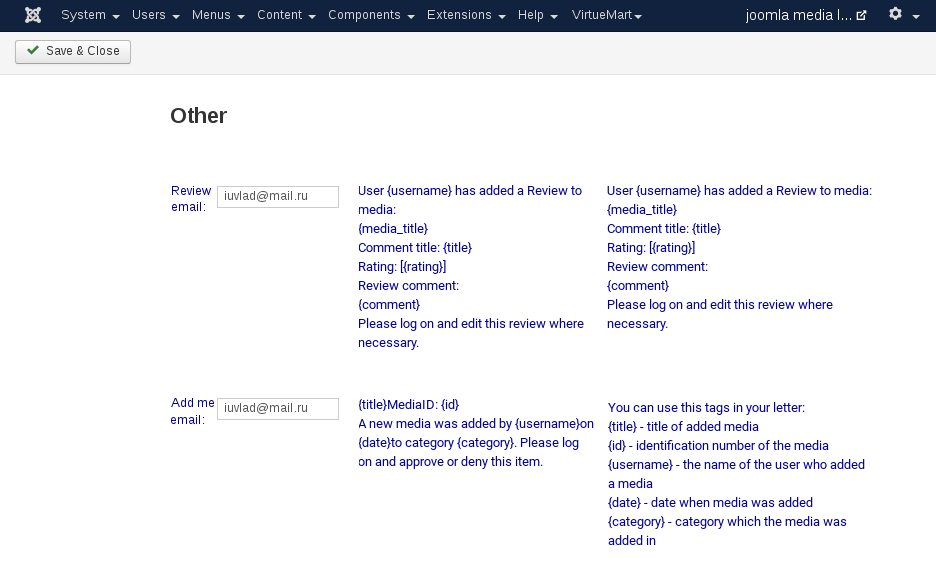 MediaLibrary - Setting other