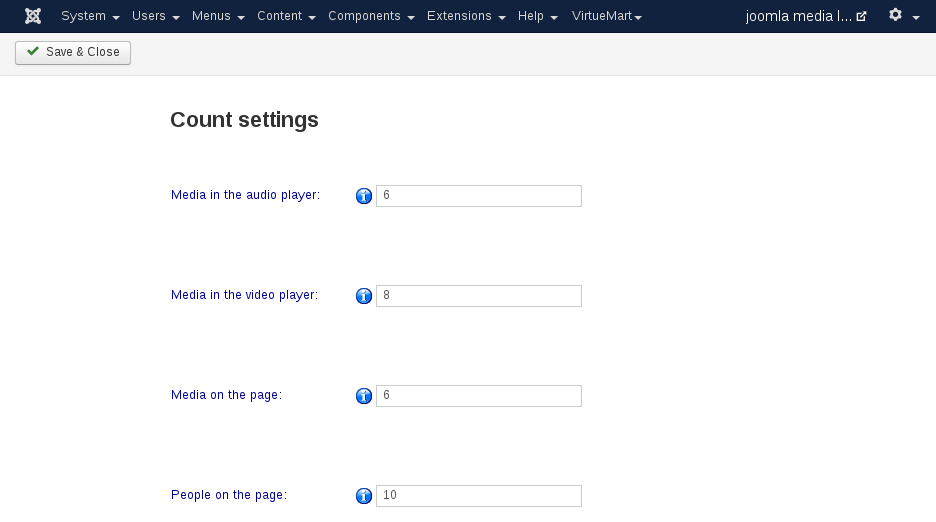 MediaLibrary - Count Settings