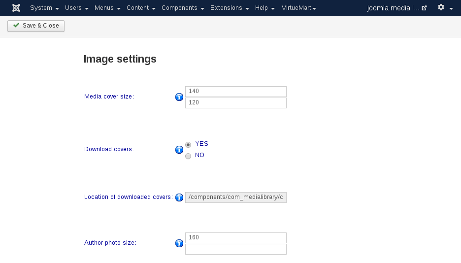 MediaLibrary - Setting image settings