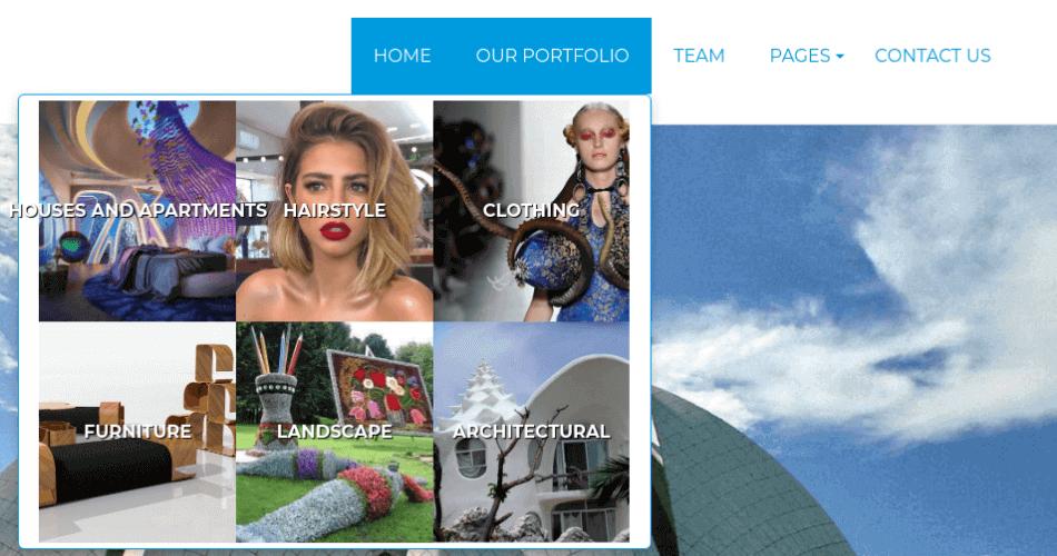 mega menu portfolio joomla template