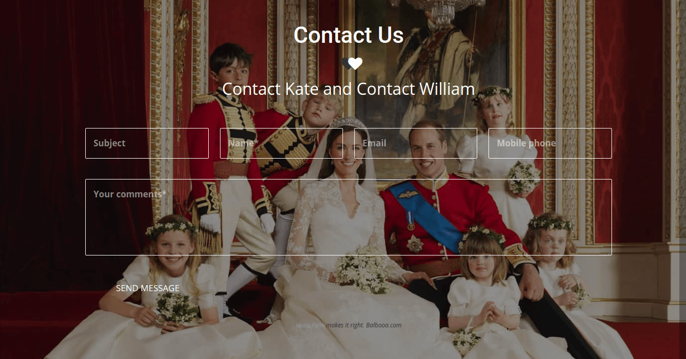 Joomla wedding template, creative contact form build with help Ordasoft CCK