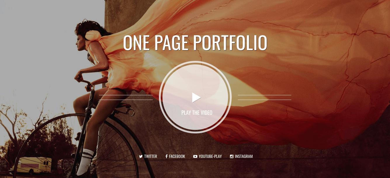 Photographer, one page portfolio Joomla template