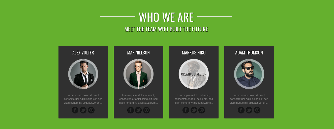 portfolio website template team section