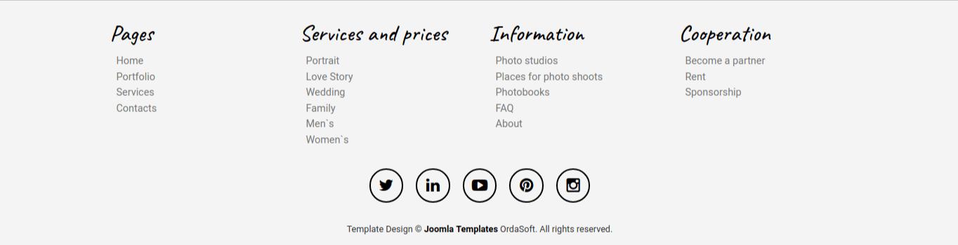 portfolio website template, footer menu