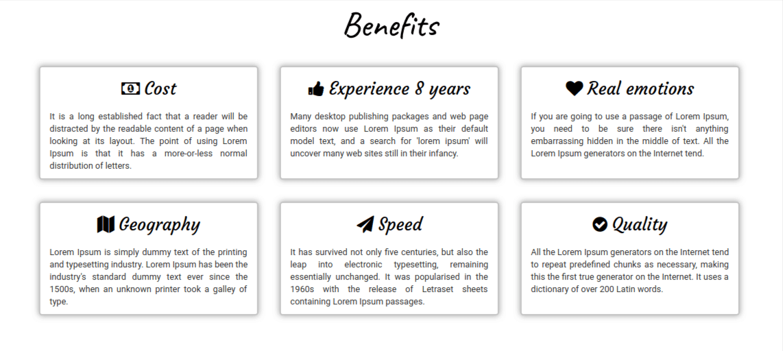 portfolio website template, section benefits