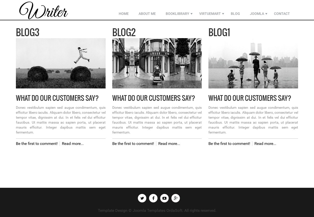 author personal blog page in writer, author website template