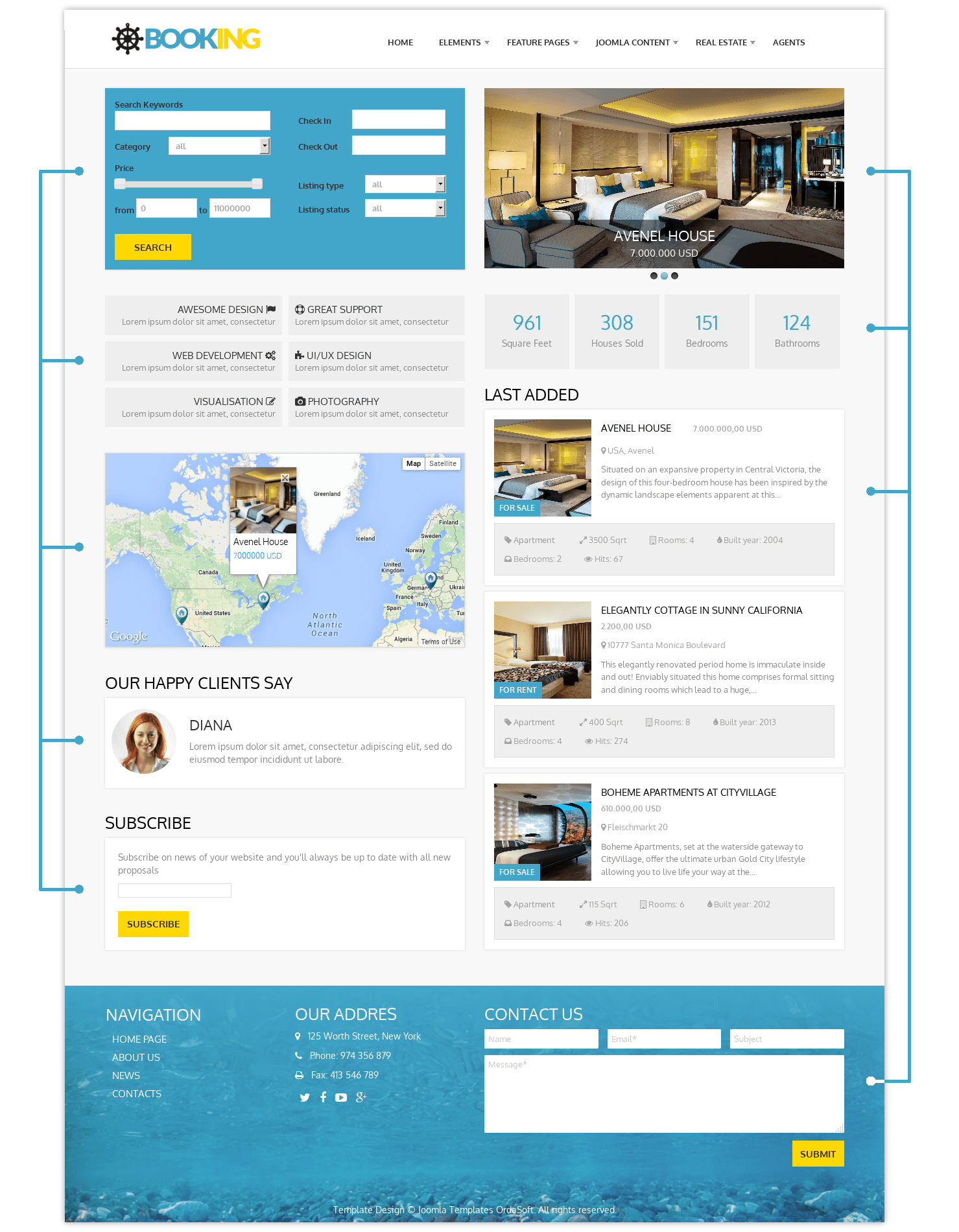 Real Estate Joomla template Booking