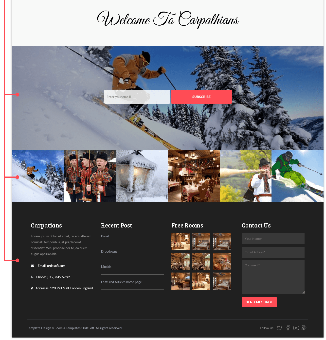 Slider of Resort & Hotel Joomla template Carpathians